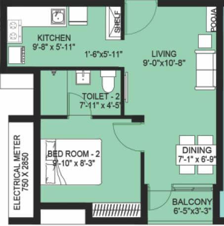 compact homes haripriya apartment 1bhk 530sqft 1