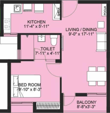 compact homes haripriya apartment 1bhk 550sqft 1