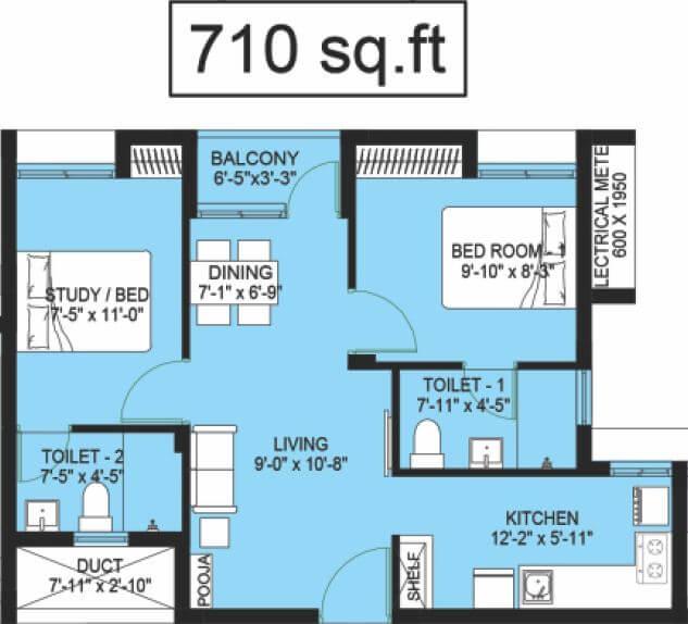 compact homes haripriya apartment 1bhk st 710sqft 1
