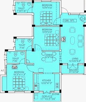 doshi trinity park apartment 3bhk 1610sqft1