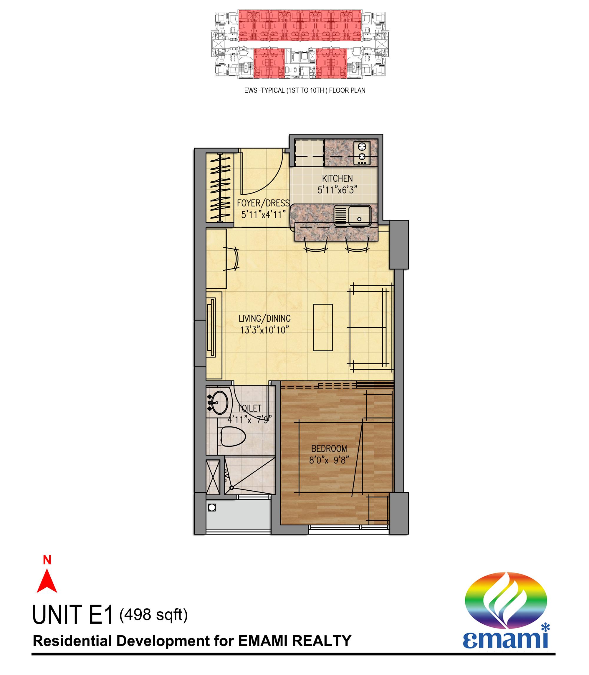 emami tejomaya apartment 1bhk 498sqft 1