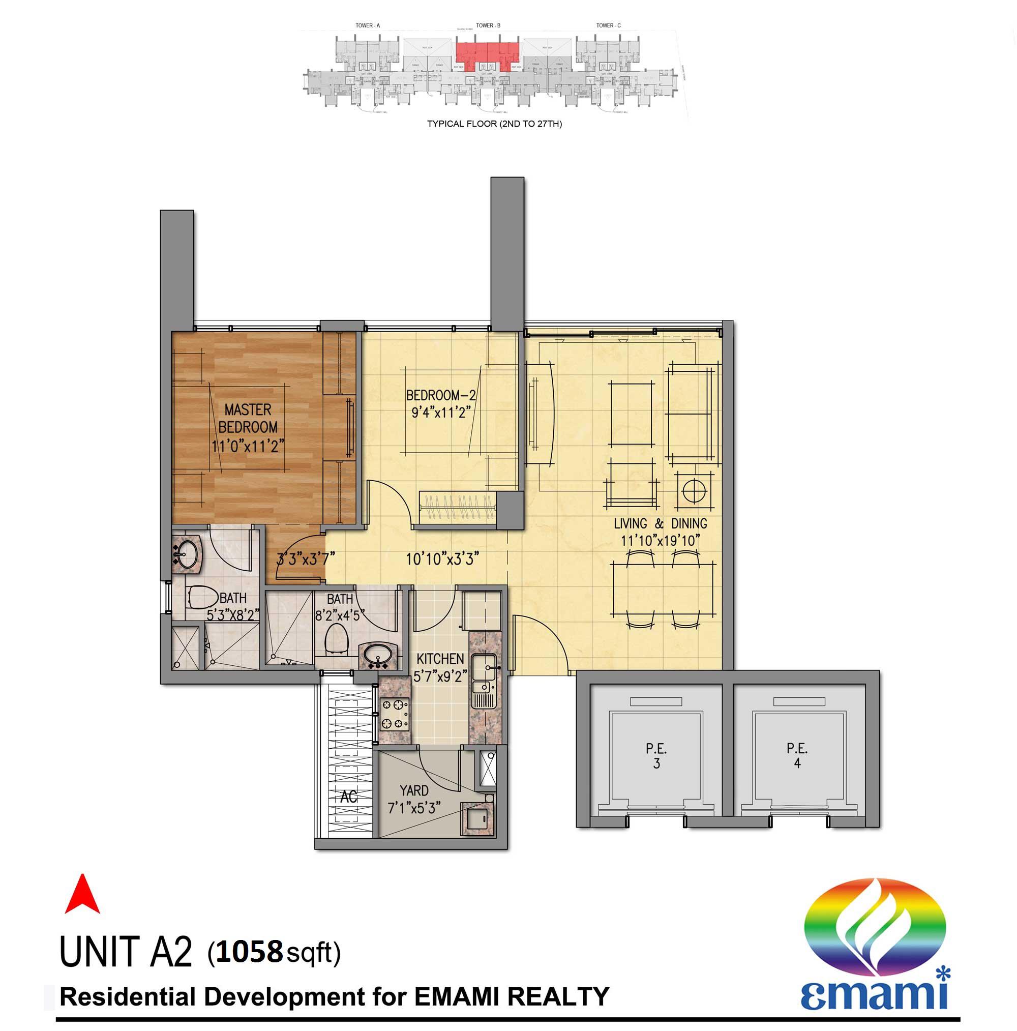 emami tejomaya apartment 2bhk 1058sqft 1