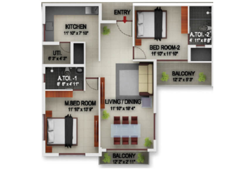 incor pbel city chennai apartment 2bhk 1262sqft101