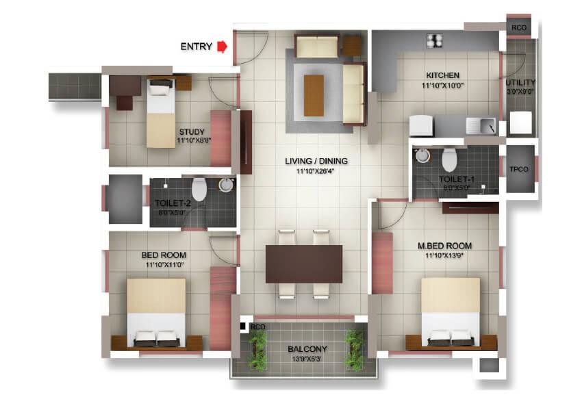 incor pbel city chennai apartment 2bhk st 1370sqft 101