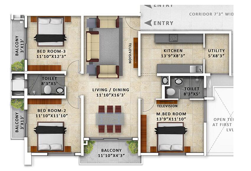 incor pbel city chennai apartment 3bhk 1552sqft101