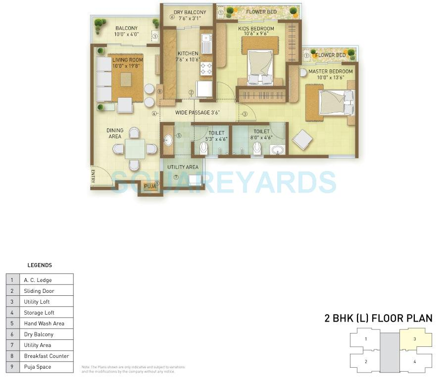 indiabulls greens apartment 2bhk 1280sqft1