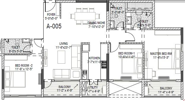 mantri group serene apartment 3bhk 1820sqft 1