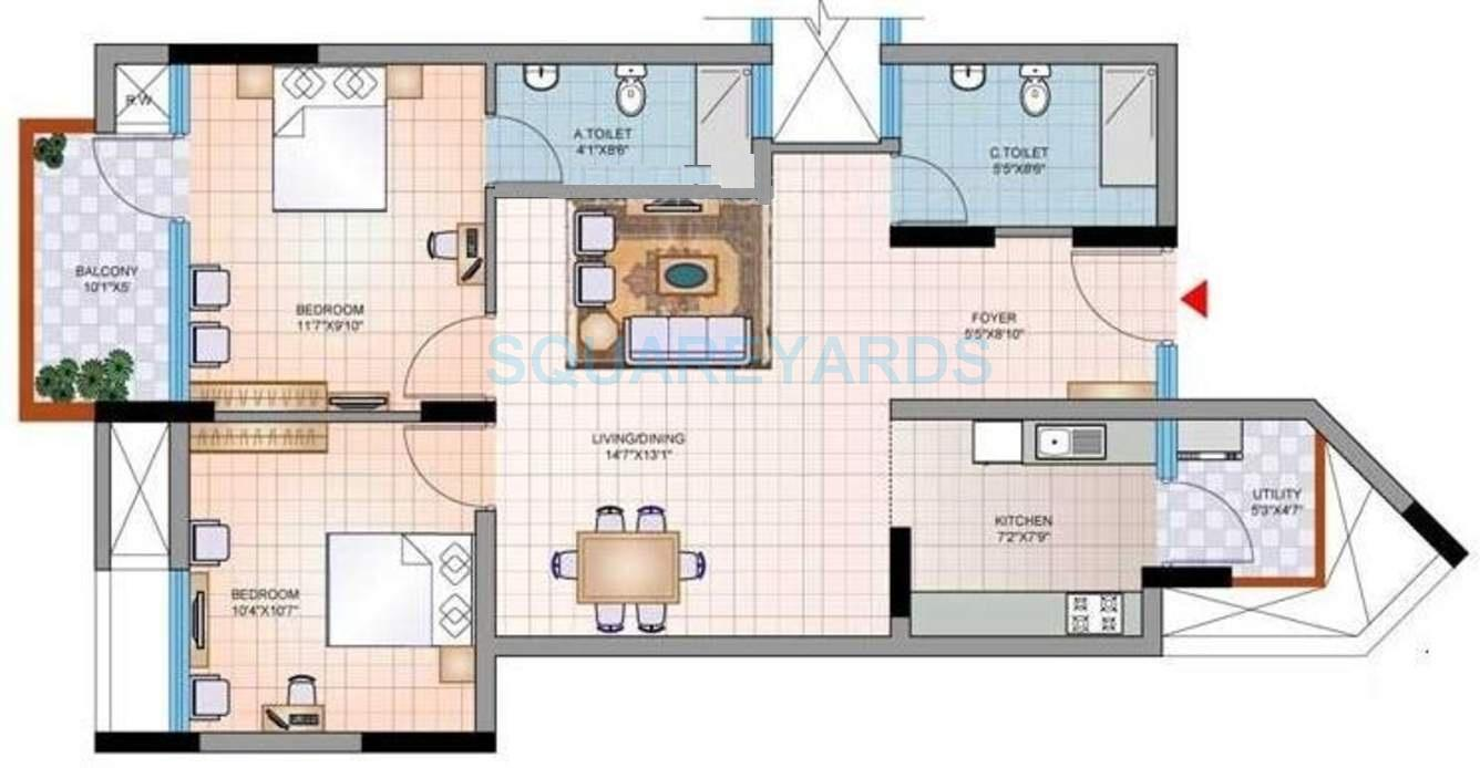 mantri group synergy 2 apartment 2bhk 975sqft1