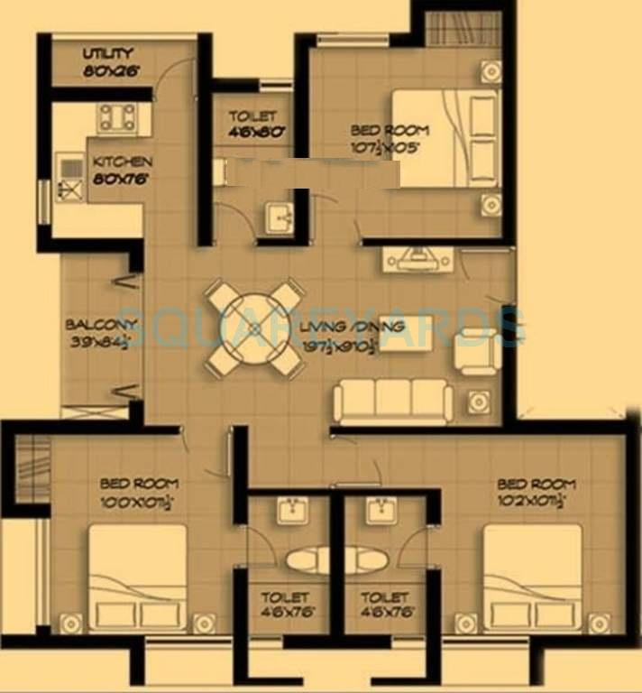 marg pushpadruma apartment 3bhk 1140sqft1