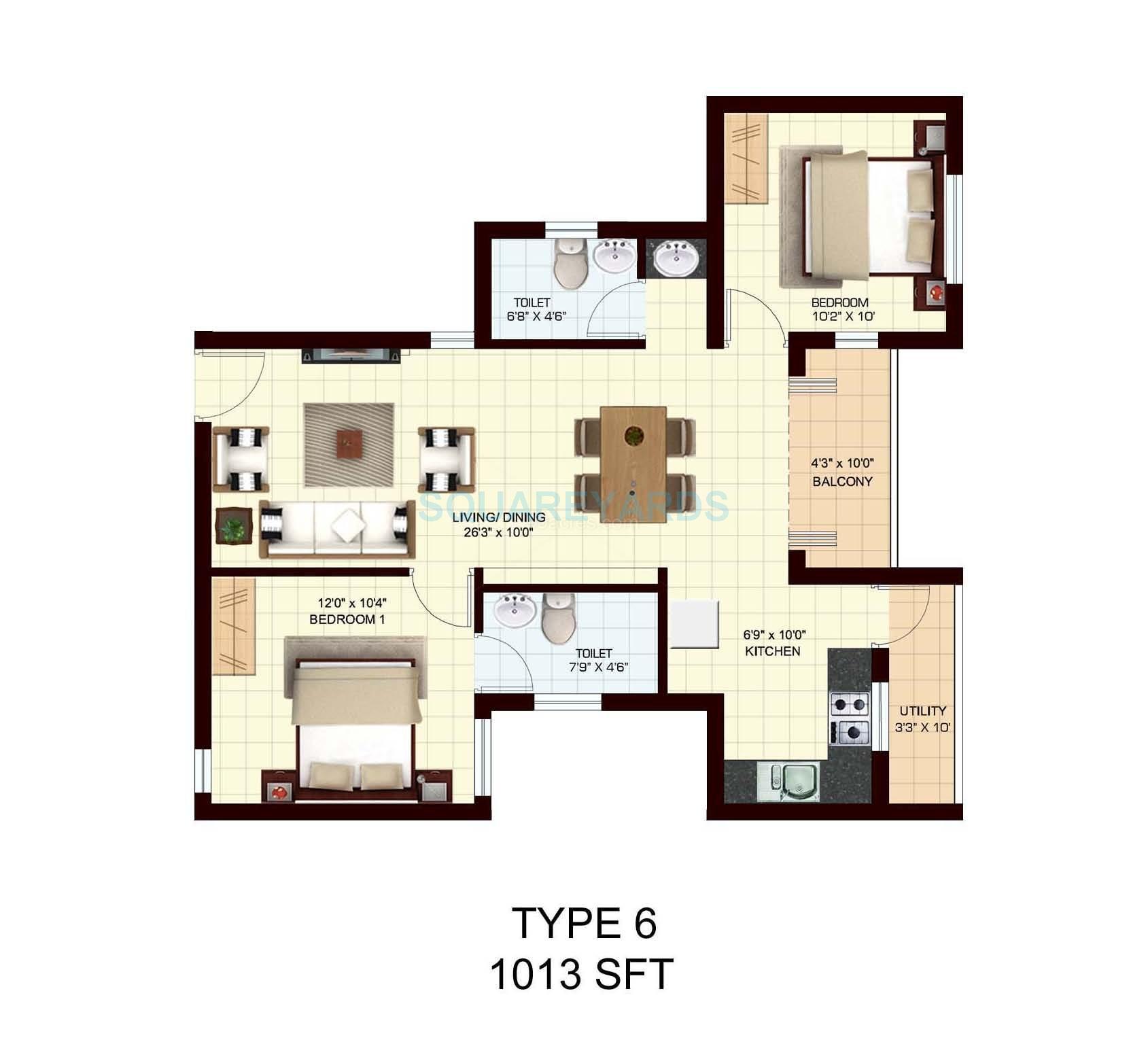 marg utsav apartment 2bhk 1013sqft1