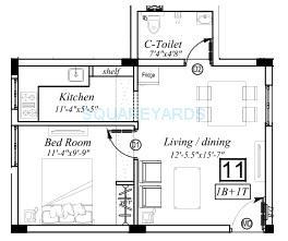 marutham group classic apartment 1bhk 582sqft1