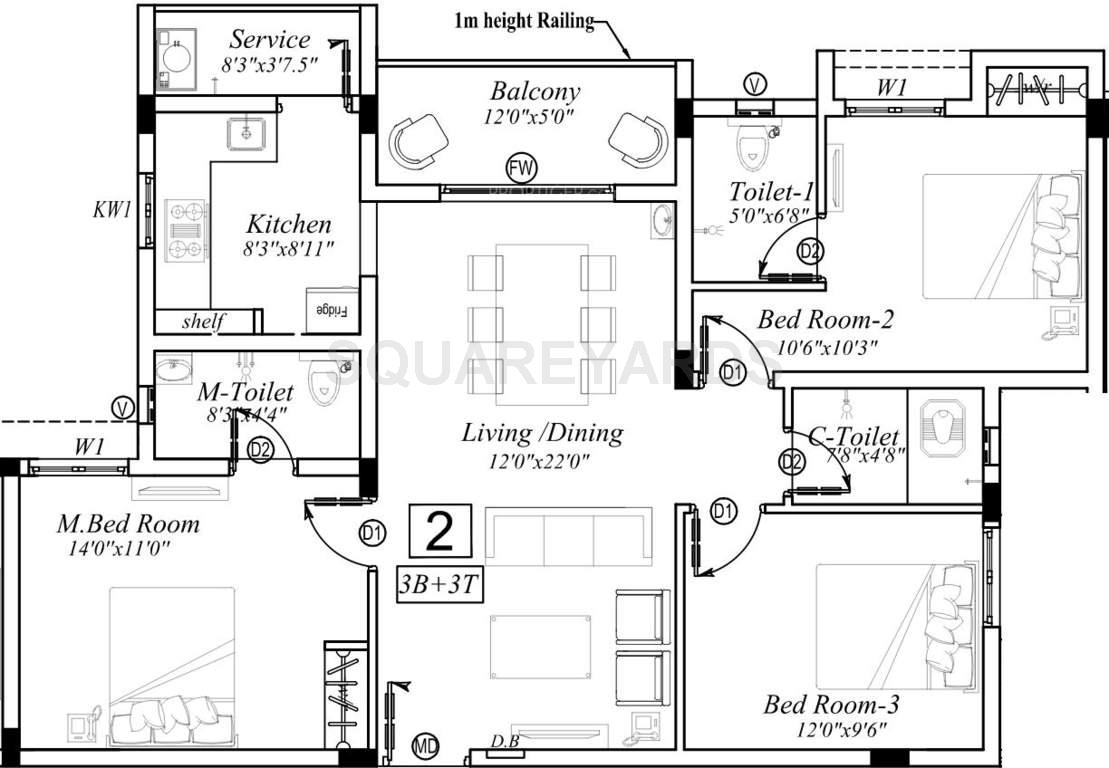 marutham group classic apartment 3bhk 1200sqft1
