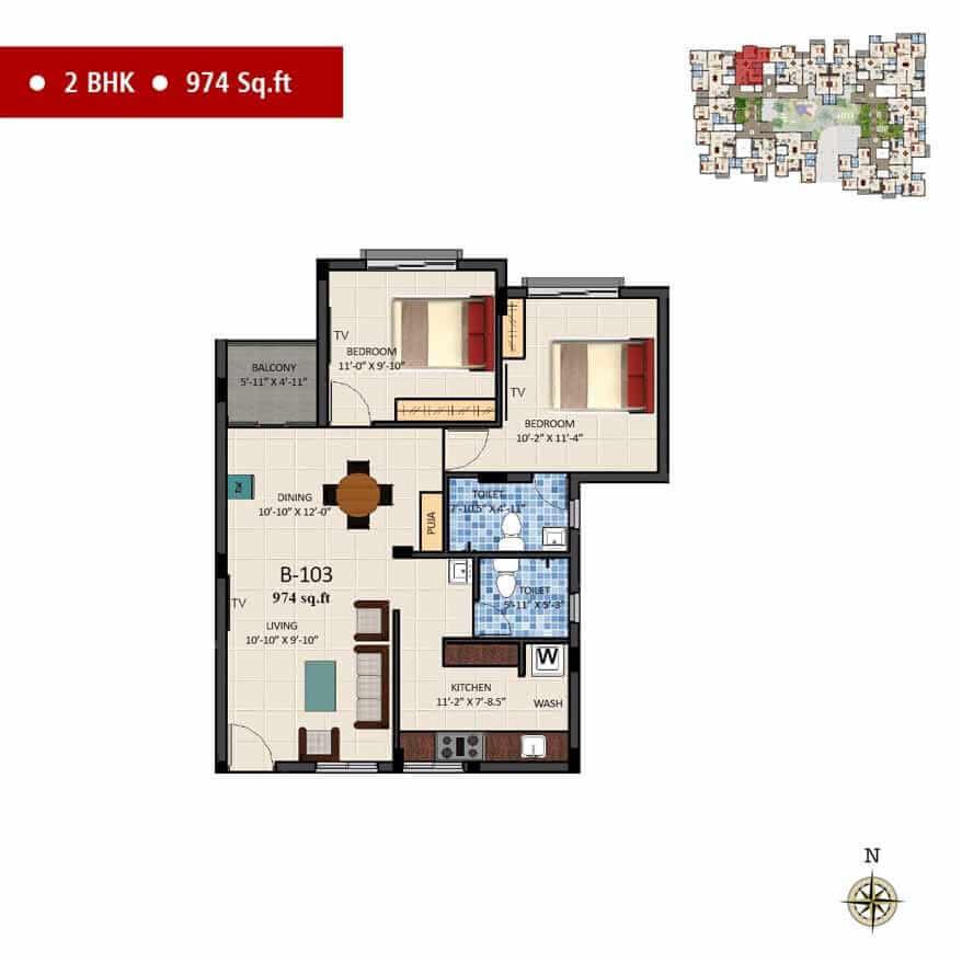 navins sanctum apartment 2bhk 974sqft 1