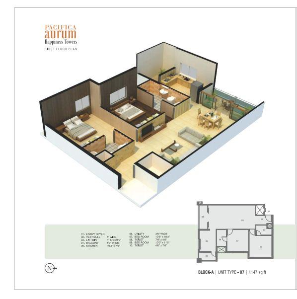 pacifica aurum apartment 2bhk 1147sqft1