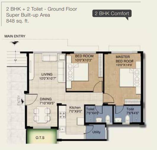 provident freedom apartment 2bhk 848sqft 1