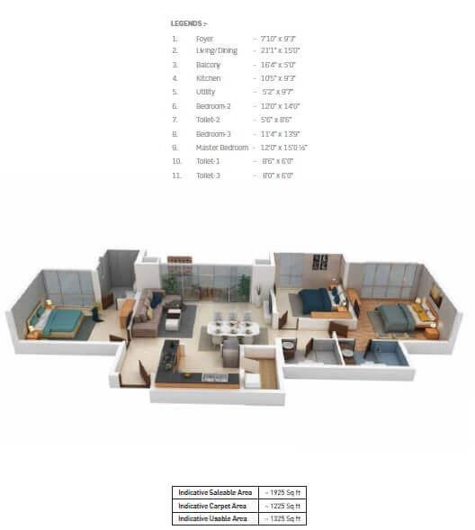 puravankara purva somerset house apartment 3bhk 1925sqft 1