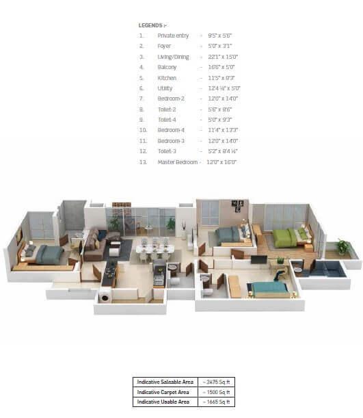 puravankara purva somerset house apartment 4bhk 2475sqft 1