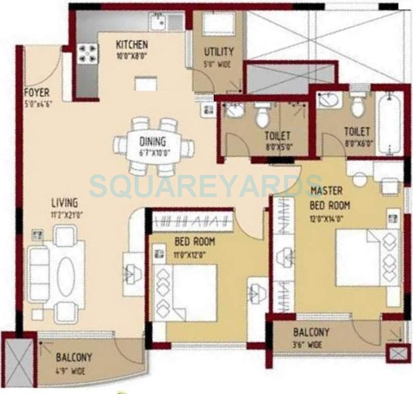 puravankara purva swanlake apartment 2bhk 1272sqft1