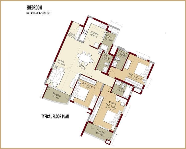 puravankara purva swanlake apartment 3 bhk 1738sqft 20214808154822