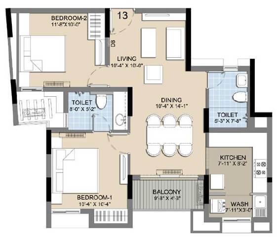 radiance icon apartment 2bhk 654sqft 1