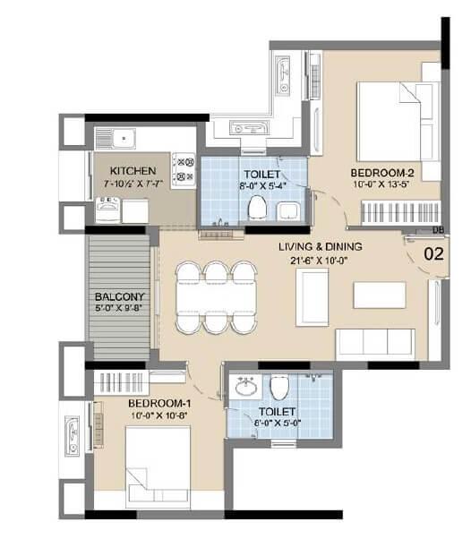 radiance icon apartment 2bhk 951sqft 20205519125521