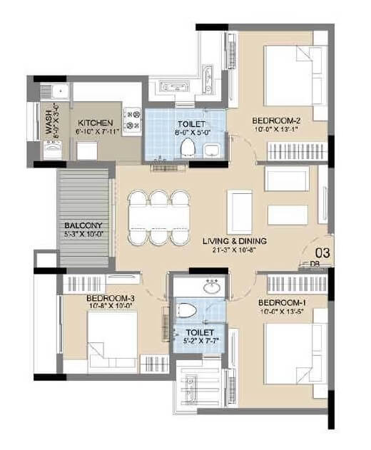 radiance icon apartment 3bhk 778sqft 1