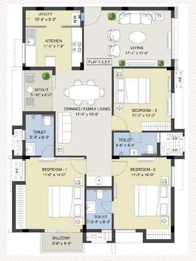 radiance rajshri apartment 3bhk 1606sqft 1