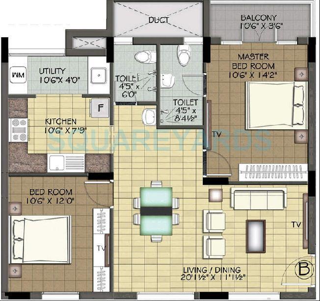 ramaniyam auroville apartment 2bhk 1152sqft1