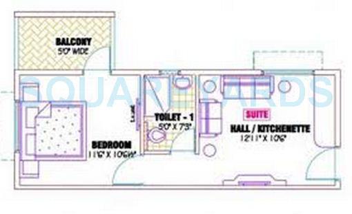 ramaniyam gauravv ph 2 block ii apartment 1bhk 487sqft1