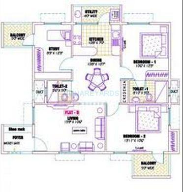 ramaniyam gauravv ph 2 block ii apartment 3bhk 1316sqft1