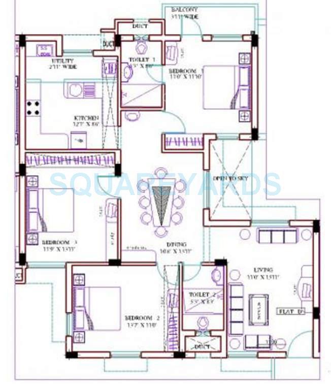 ramaniyam gauravv phase 1 apartment 3bhk 1515sqft1
