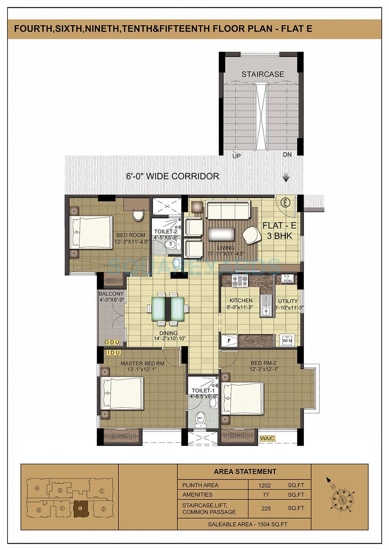 ramaniyam isha apartment 3bhk 1504sqft1