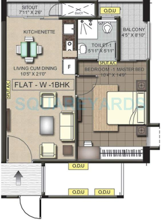 ramaniyam pushkar phase ii apartment 1bhk 620sqft1