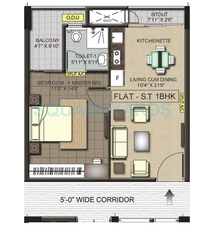 ramaniyam pushkar phase ii apartment 1bhk 683sqft1