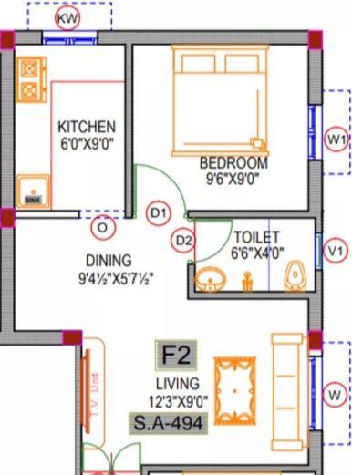 rishi sri archana flats apartment 1bhk 494sqft11