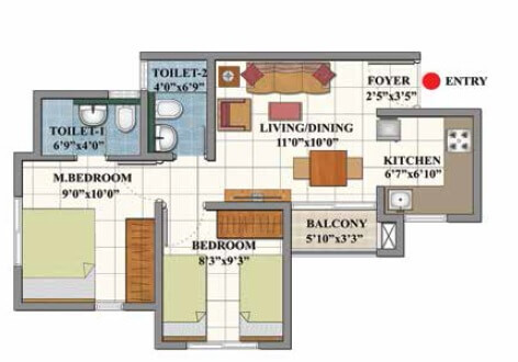 shriram divine city code kovil apartment 2bhk 593sqft 1