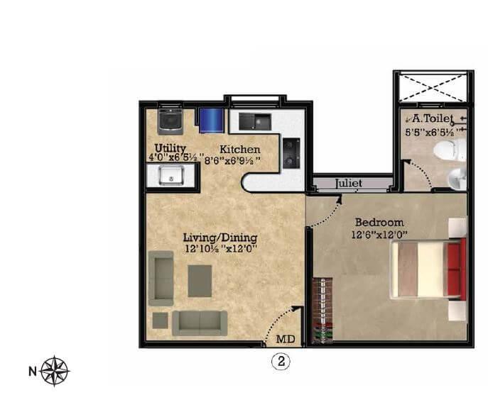 shriram park 63 apartment 1bhk 625sqft 1
