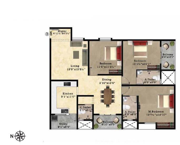 shriram park 63 apartment 3bhk 1700sqft 1