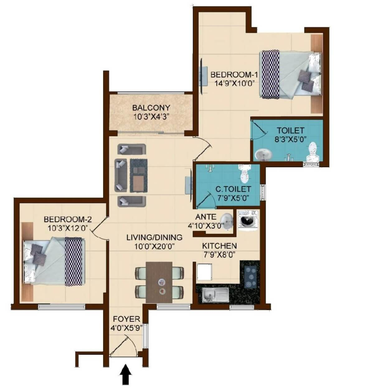 shriram temple bells in guduvanchery chennai project overview 2 bhk 1065 sq ft apartment floor plan