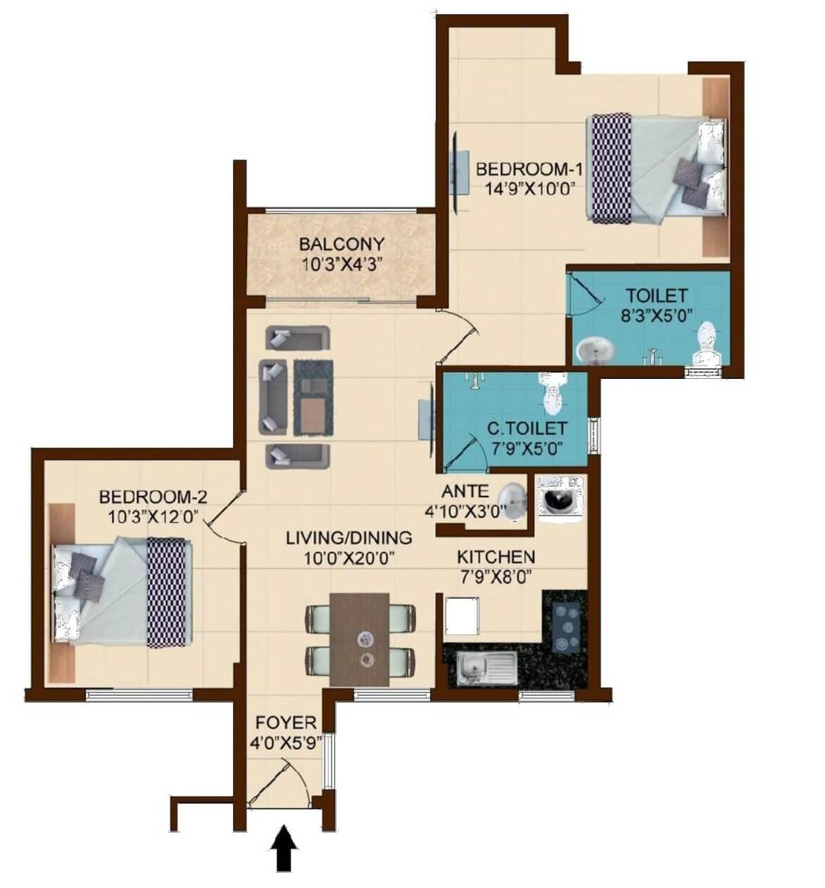 shriram temple bells apartment 2bhk 1065sqft 1
