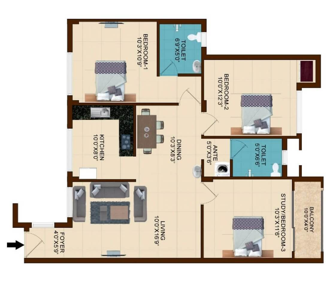 shriram temple bells in guduvanchery chennai project overview 2 bhk 1190 sq ft apartment floor plan