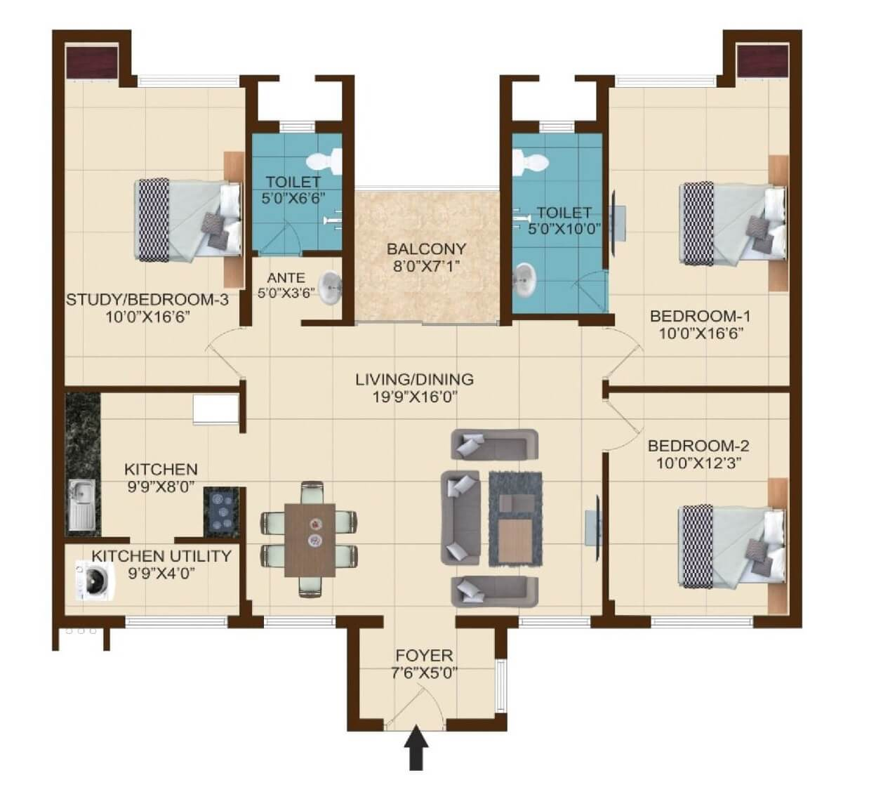 shriram temple bells apartment 3bhk 1495sqft 1