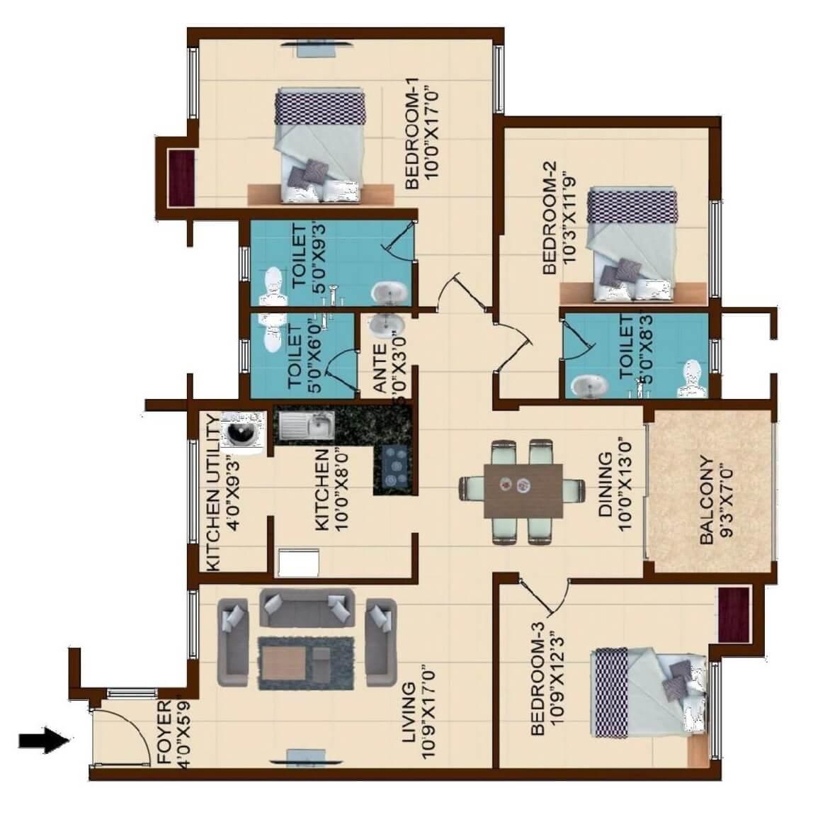 shriram temple bells apartment 3bhk 1640sqft 1