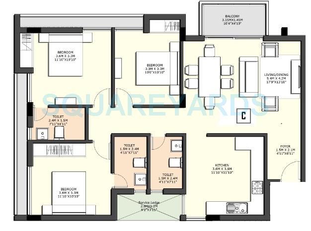sidharth housing county apartment 3bhk 1400sqft1