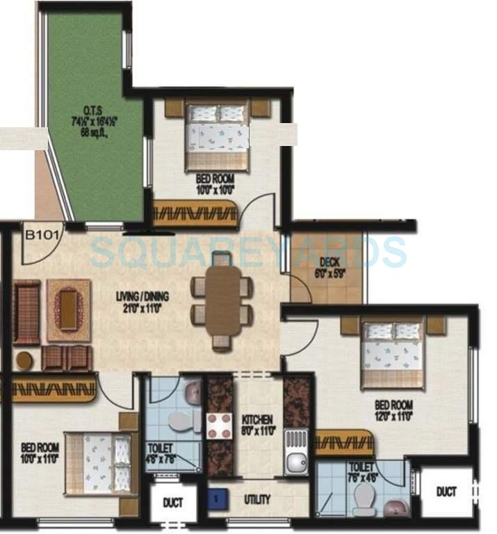 sidharth housing dakshin apartment 3bhk 1009sqft1