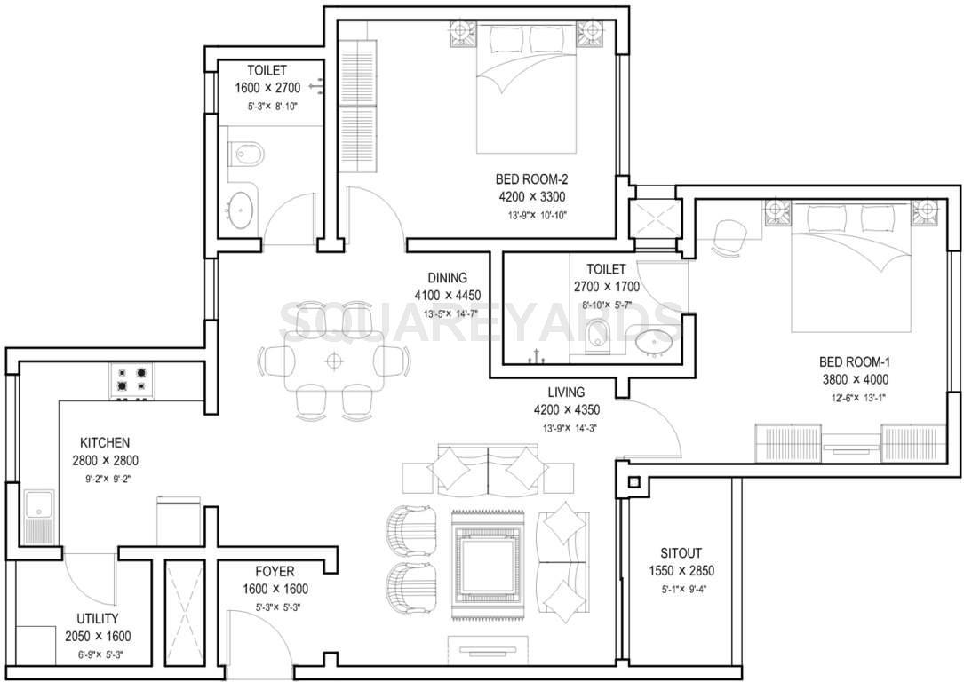 sobha meritta apartment 2bhk 1336sqft1