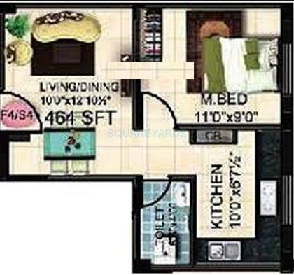 steps stone ethiraj apartment 1bhk 464sqft1