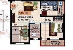 steps stone krishu apartment 2bhk 1213sqft1