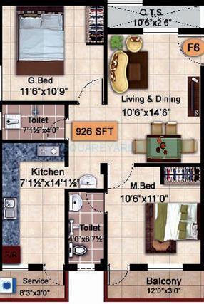 steps stone krishu apartment 2bhk 926sqft1