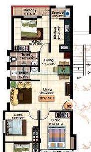 steps stone krishu apartment 3bhk 1037sqft1
